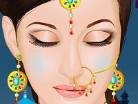 لعبة مكياج الشابة الهندية الجميلة